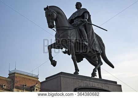 Zrenjanin, Serbia, July 01, 2016. Monument To King Peter The First In The Center Of Zrenjanin (1844