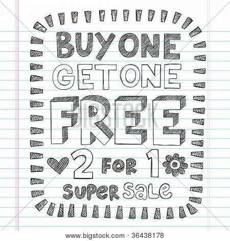 Buy One Get One Free Sketchy Notebook Doodles Discount Sale   Shopping Tag Hand-Drawn Illustration Design Elements on Lined Sketchbook Paper Background