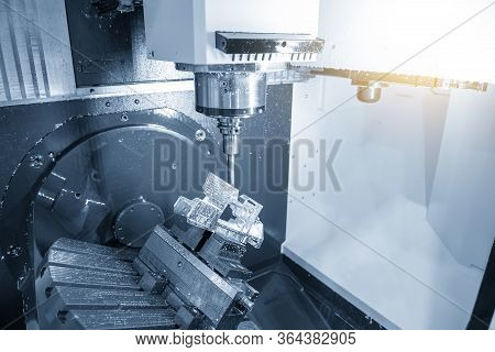 The  5 Axis Cnc Milling Machine Cutting The  Automotive Parts With Solid Ball Endmill Tools. The Hi-