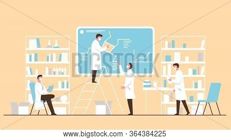 Vector Concept Illustration Of A Team Of Scientists Wearing Masks Doing Research In The Office With