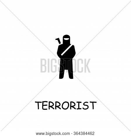 Terrorist Flat Vector Icon. Hand Drawn Style Design Illustrations.