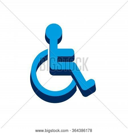 Disabled Handicap Icon Isometric. 3d Sign Isolated On White Background.