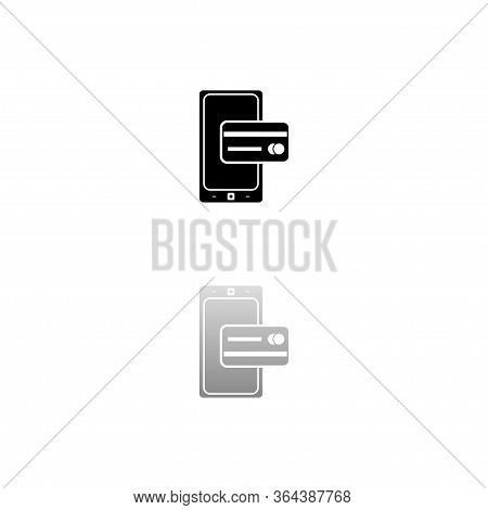 Mobile Payment. Black Symbol On White Background. Simple Illustration. Flat Vector Icon. Mirror Refl