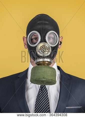 Close Up Portrait Of Handsome Man In A Protective Gas Mask