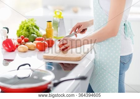 Cropped Profile Photo Of Housewife Chef Arms Holding Tomato Cutting Knife Slices Enjoy Morning Cooki