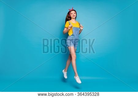 Full Length Body Size View Of Her She Nice Attractive Lovely Trendy Cheerful Carefree Girl Jumping S