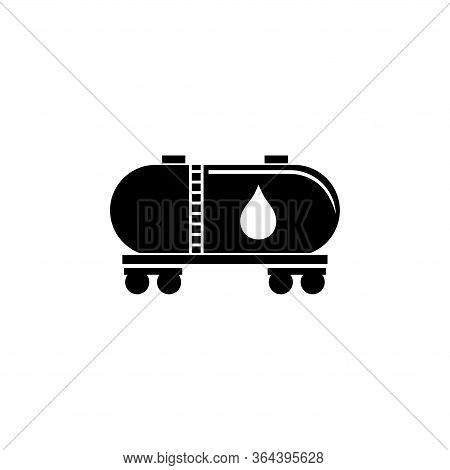 Railroad Tank Wagon, Oil Railway Cistern. Flat Vector Icon Illustration. Simple Black Symbol On Whit