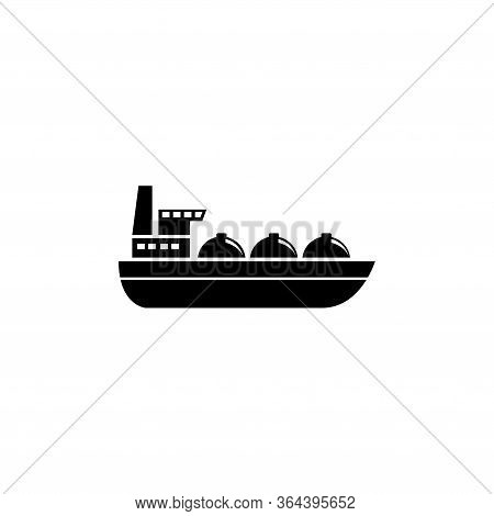 Oil Tanker Ship, Gas Boat Transportation. Flat Vector Icon Illustration. Simple Black Symbol On Whit