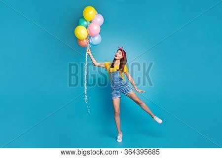 Full Length Body Size View Of Her She Nice Attractive Lovely Girl Holding In Hand Balls Having Fun F