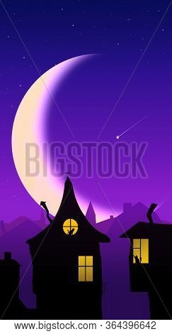 Beautiful Fabulous Roofs Of Houses And Silhouettes In The Windows Against The Backdrop Of A Big Mont