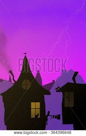 Beautiful Fabulous Silhouettes Of Houses, A Woman On The Balcony Takes Off Linen And Cats In The Rai
