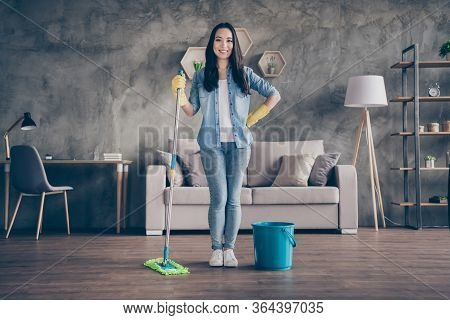 Full Length Photo Of Domestic Pretty Asian Lady Standing Self-confident Living Room Finished General