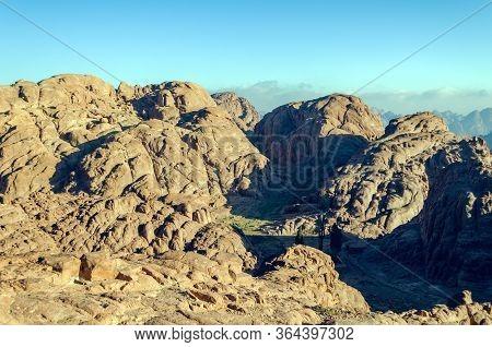 Mountain Landscape At Sunrise, View From Mount Moses, Sinai Peninsula, Egypt.