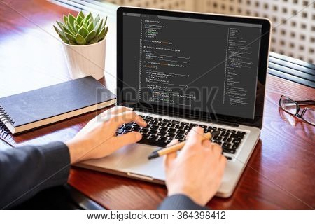 Man Programming On A Computer, Office Background