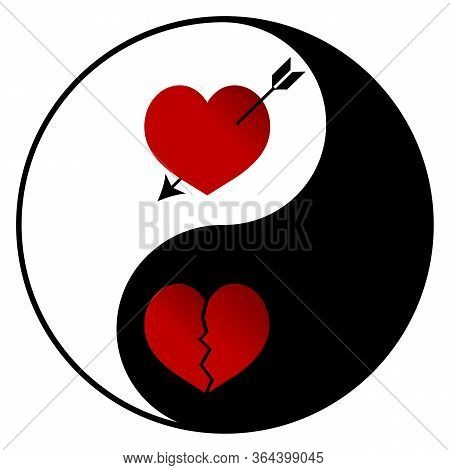 Yin Yang - Amorousness And Broken Heart Illustration - Opposition - Good And Evil
