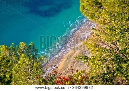 French Riviera. Idyllic Cote D'azur Hidden Beach In Pine Trees Aerial View, Villefranche Sur Mer, Fr