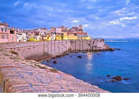 French Riviera. Historic Town Of Antibes Seafront And Landmarks Dawn View, Famous Destination In Cot