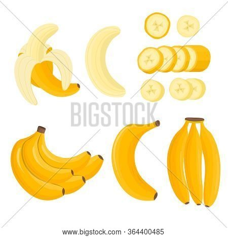 Cartoon Color Yellow Bananas Icons Set Peel Banana And Bunch Tropical Fruit. Vector Illustration Of