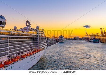 Barcelona, Spain - November 06 2018: Msc Fantasia Cruise Ship Of Msc Cruises, A Global Cruise Line D