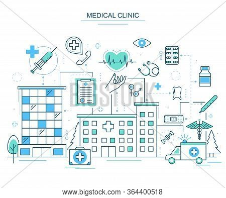 Medical Clinic Concept Contour Linear Style Include Of Hospital, Stethoscope And Pill. Vector Illust