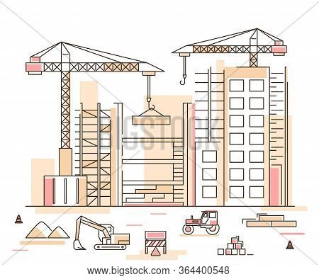 Construction Building Concept Contour Linear Style Include Of Crane, Excavator And Tractor. Vector I