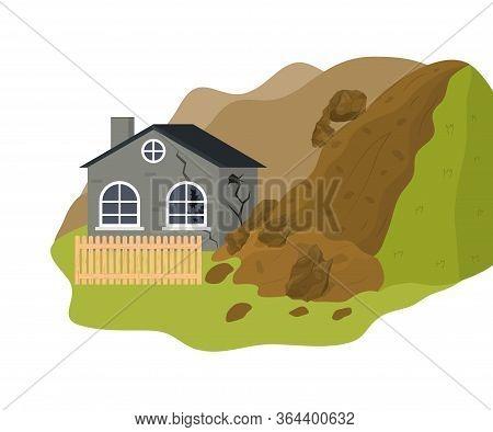 Cartoon Color Home Building And Landslide Danger Concept Flat Design Style. Vector Illustration Of N