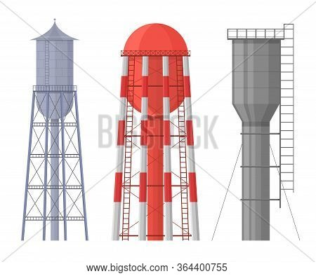 Cartoon Color Vertical Water Tower Icon Set Resource Storage Reservoir Concept Flat Design Style. Ve