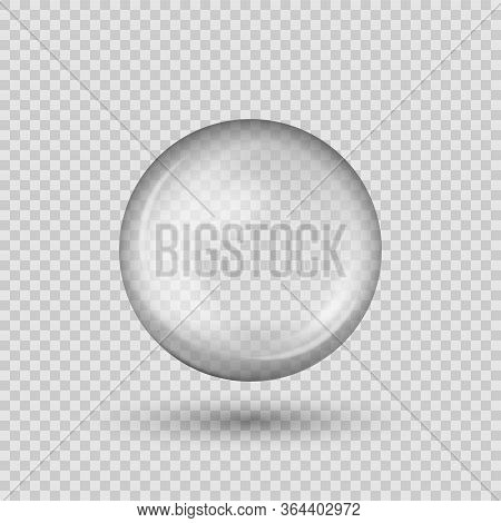 Translucent Sphere With Shadow On Transparent Background. Vector Illustration.