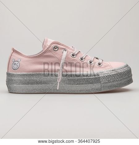 Vienna, Austria - February 19, 2018: Converse Chuck Taylor All Star Lift Ox Pink And Silver Sneaker