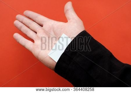 In A Black Sleeve Is Hidden A White Card Without Identification Mark Empty. Empty Field On Paper In