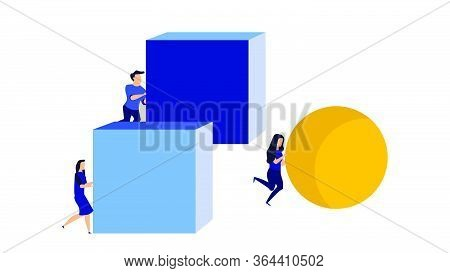 Businessman And Businesswoman Concept Strategy Competitor Achievement Vector With Sphere And Cube. C
