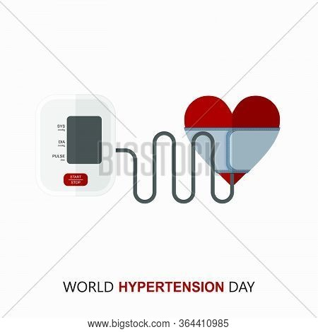 World Hypertension Day. Digital Blood Pressure Monitor. Medical Exam. Hypertension Check. Vector Ill