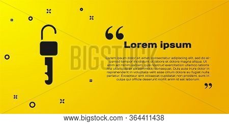 Black Unlocked Key Icon Isolated On Yellow Background. Vector Illustration