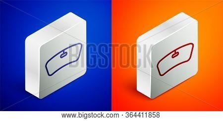 Isometric Line Windshield Icon Isolated On Blue And Orange Background. Silver Square Button. Vector