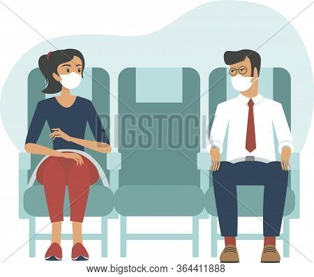 Passengers Wearing Protective Medical Masks Travel by Airplane. new Seating Regulations On Flights.
