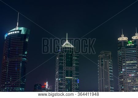 Shanghai / China - July 28th 2015: Night View Of Shanghai Skyscrapers In Pudong New Area In Shanghai