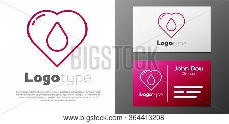 Logotype Line Heart With Water Drop Icon Isolated On White Background. Logo Design Template Element.