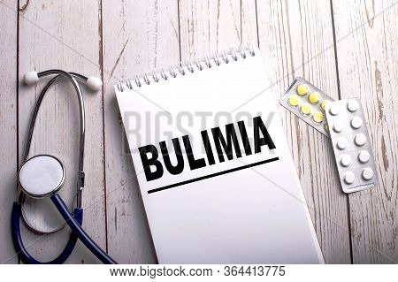 Stethoscope And Pills, Top View, Deep Background, Bulimia