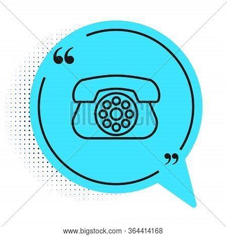Black Line Telephone Icon Isolated On White Background. Landline Phone. Blue Speech Bubble Symbol. V