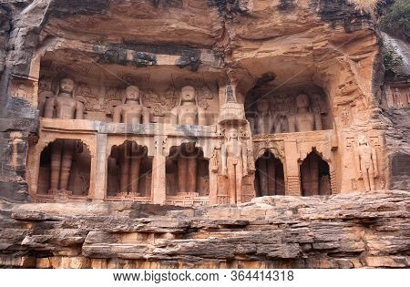 Ancient Jain Statues Carved Out Of Rock In Gwalior, Madhya Pradesh, India. Siddhachal Jain Temple Ca