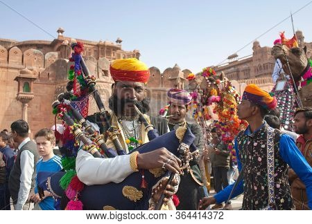 Bikaner, India - January 12, 2019: Camel Band Performing At Festival. The Camel Festival Begins With
