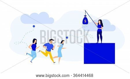 Employee Giving Bonus Dollar Business Concept Illustration Vector Cartoon. Sport Money Worker Earnin