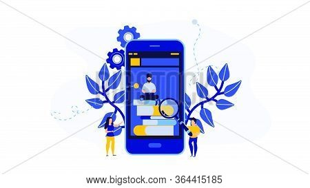 Online Book Library Vector Illustration Concept With People. Education With Phone Or Computer. Digit