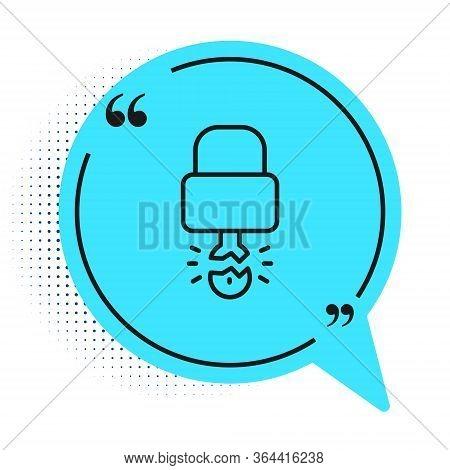 Black Line Key Broke Inside Of Padlock Icon Isolated On White Background. Padlock Sign. Security, Sa
