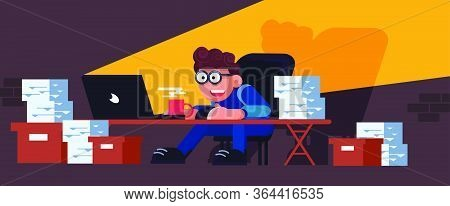 Business Busy Paper Work Vector Workflow Accountant Man Vector. Workaholic Secretary With Computer L