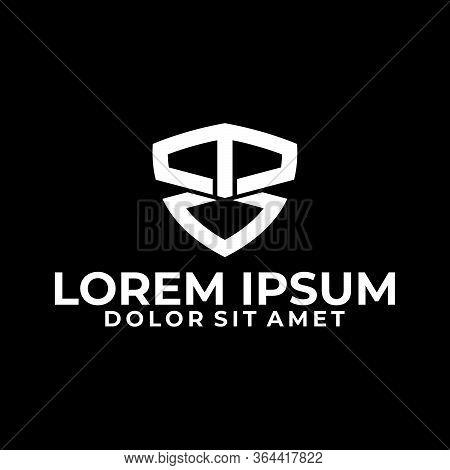 Initial Letter M Or T V Logo Template With Modern Shield Illustration In Flat Design Monogam Symbol