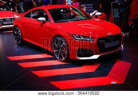 Frankfurt Am Main, Germany - September 18, 2019: Red Sportscar Audi Tt Rs Presented At The Frankfurt