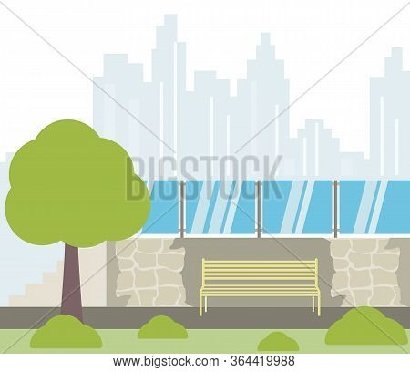 Flat Design Viewpoint And Skyscrapers At Background - Vector Illustration