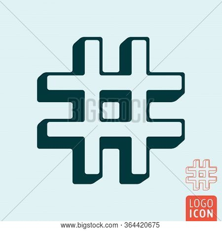 Hashtag Icon Template. Hash Tag Symbol Outline Design. Vector Illustration