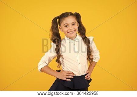 Stylish And Chic. Stylish Schoolgirl. Happy Little Child With Stylish Look On Yellow Background. Sma